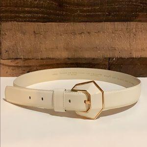 Vintage Liz Claiborne Cream & Gold Leather Belt